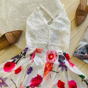 Dresses & Skirts - White Backless Floral Scallop Crochet Lace Romper